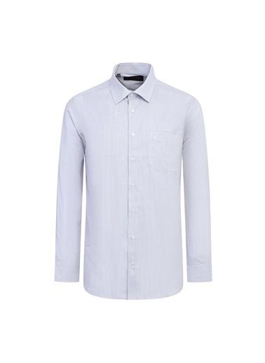 Kiğılı Uzun Kol Desenli Klasik Gömlek Bej